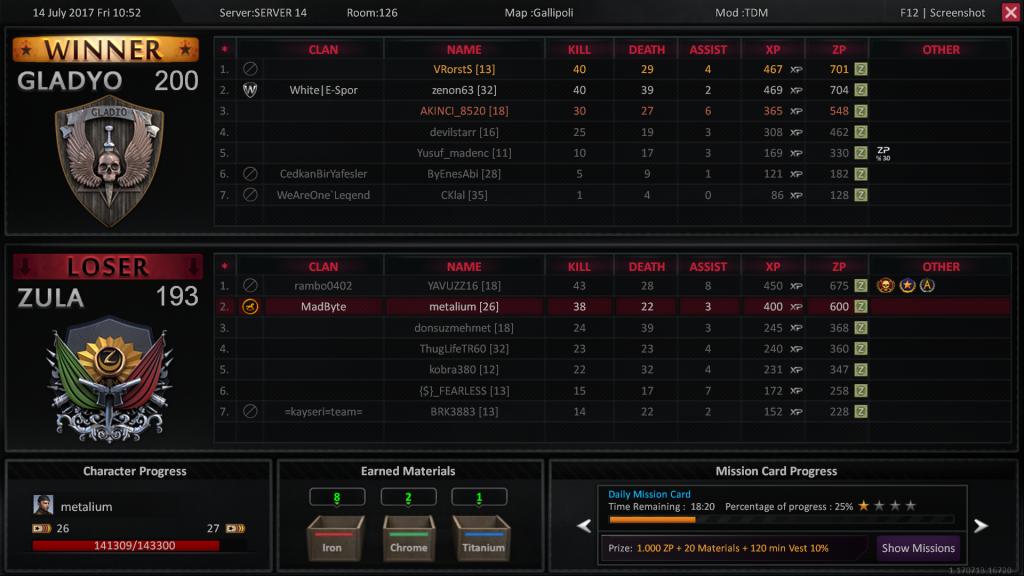صفحه نتایج مسابقات در بازی زولا